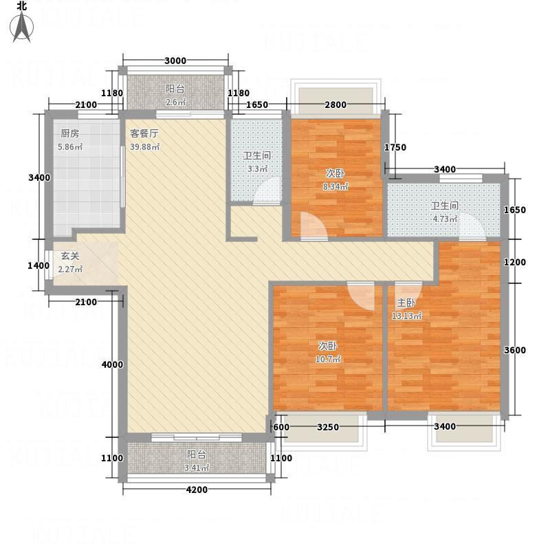 万华城126.88㎡F2户型3室2厅2卫1厨