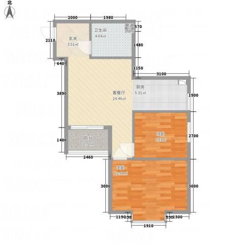 溪林湾・东方新天地2室1厅1卫0厨72.00㎡户型图