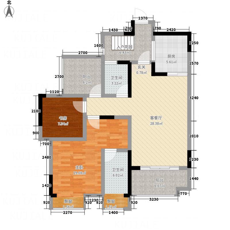 汉南领秀86.00㎡户型2室1厅1卫1厨
