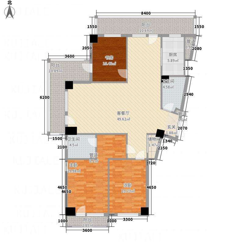 翔峰・财富海景28.47㎡4#G16户型3室2厅2卫1厨