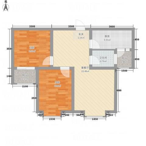香江・卡纳溪谷2室1厅1卫1厨56.67㎡户型图
