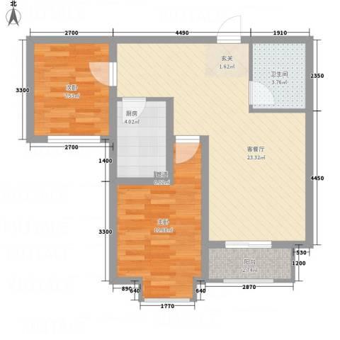 香江・卡纳溪谷2室1厅1卫1厨81.00㎡户型图