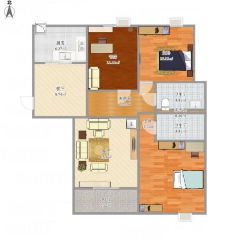 融侨华府3室2厅2卫1厨125.00㎡户型图
