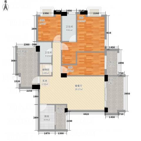 文泉翠满庭3室1厅2卫1厨142.00㎡户型图