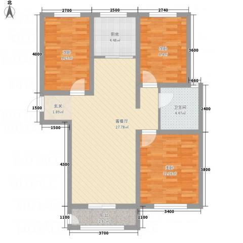 香江・卡纳溪谷3室1厅1卫1厨68.60㎡户型图