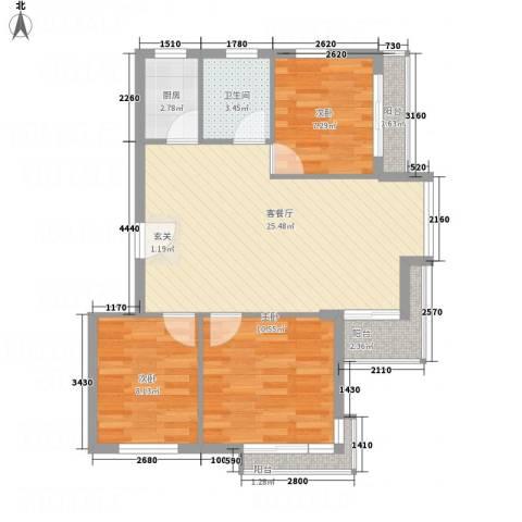 凤凰湖3室1厅1卫1厨62.95㎡户型图