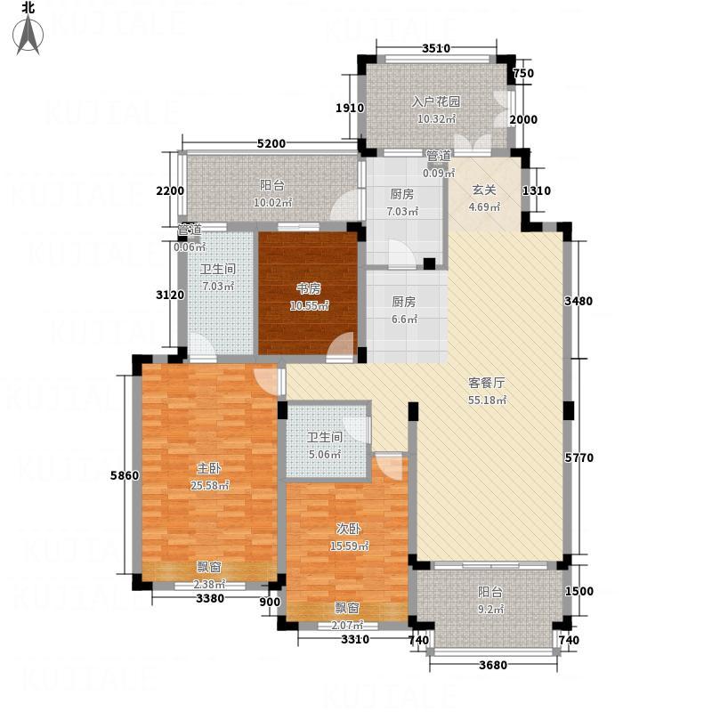 中国铁建领秀城171.43㎡福华园户型3室2厅2卫
