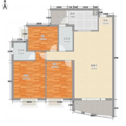 蟠龙山水豪庭3室1厅2卫1厨154.00㎡户型图