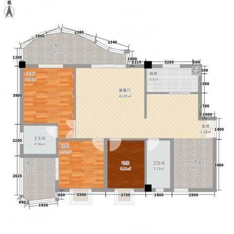华腾碧水映象3室1厅2卫1厨129.00㎡户型图
