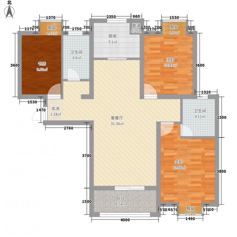御景水岸113.30㎡D2户型3室2厅2卫1厨