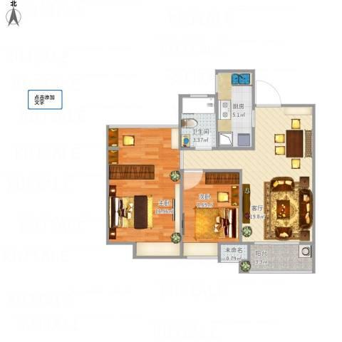 太湖新城2室1厅1卫1厨79.00㎡户型图