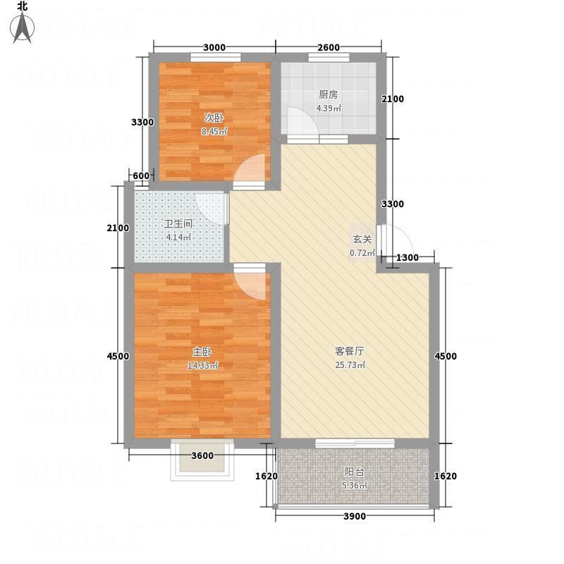 凤栖金桂苑78.40㎡C户型2室2厅1卫1厨