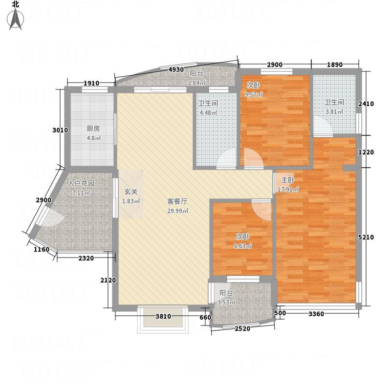 凤凰湖126.00㎡户型3室2厅2卫1厨