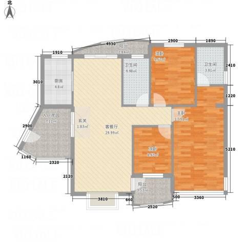 凤凰湖3室1厅2卫1厨126.00㎡户型图