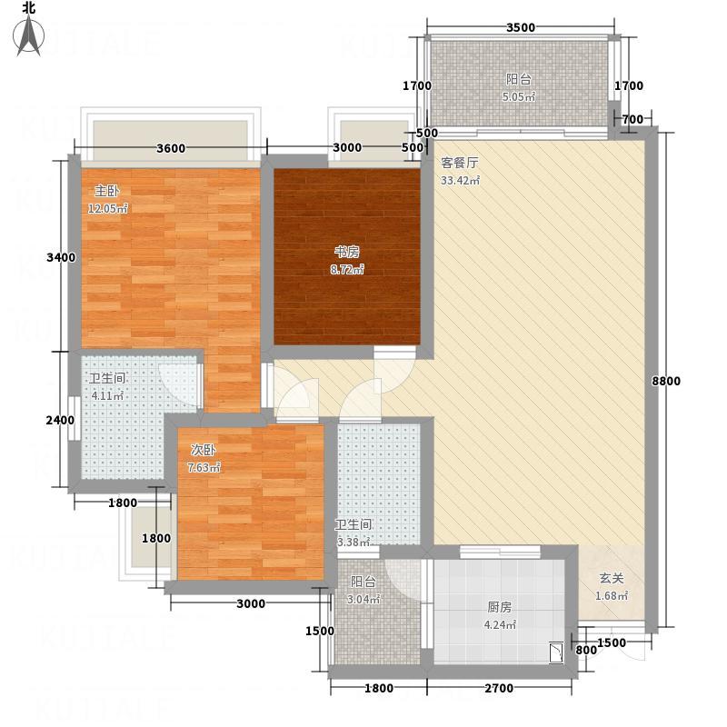 泰合城市首座18.77㎡A1-2型户型3室2厅2卫1厨