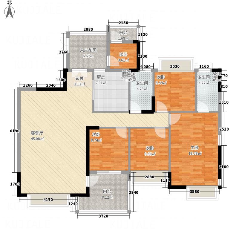 鼎湖森邻176.50㎡流溪轩E栋2-13层户型5室2厅2卫1厨