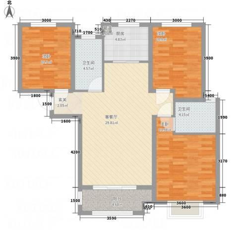 科达・府左华苑3室1厅2卫1厨119.00㎡户型图