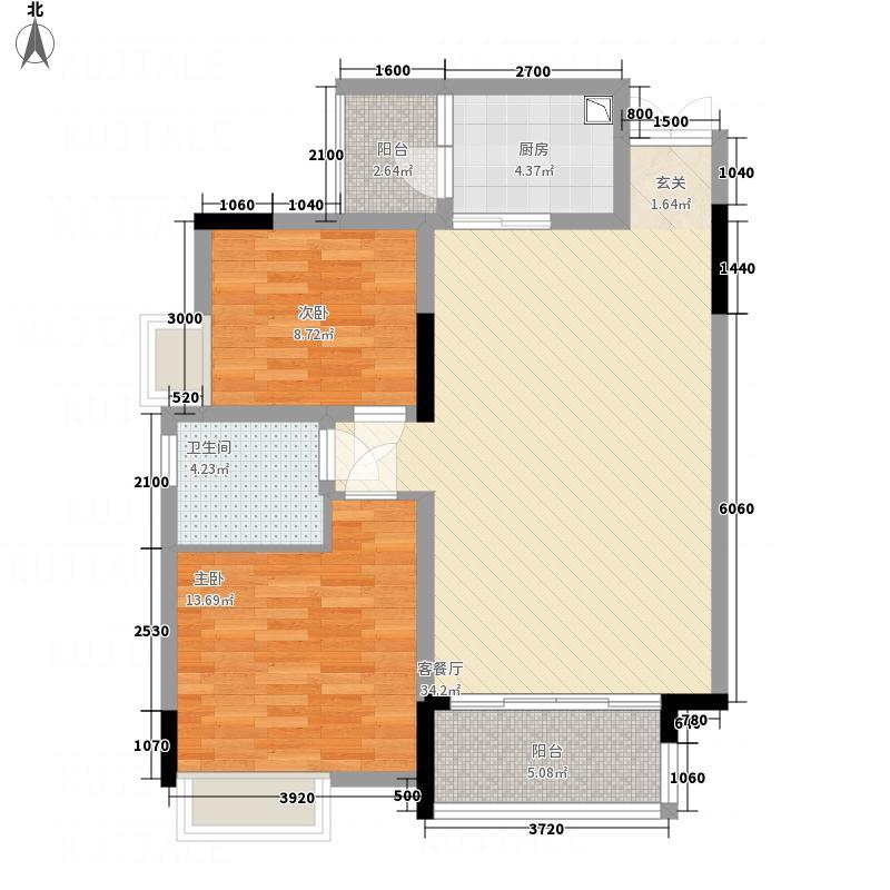 泰合城市首座6.00㎡C3-4型户型2室2厅1卫1厨
