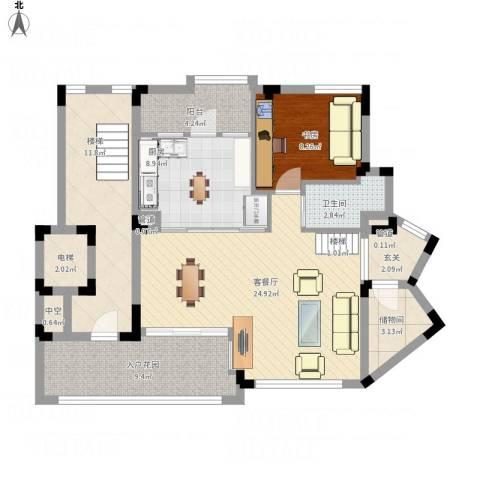 江南世家别墅1室1厅1卫1厨115.00㎡户型图