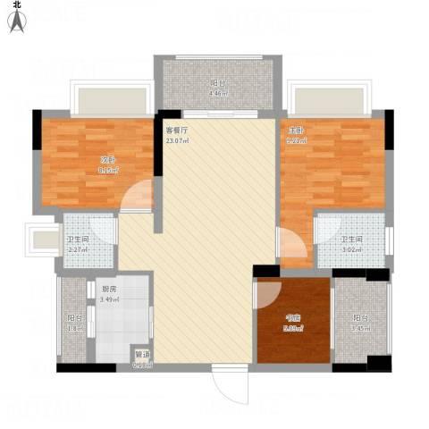 金马香颂居3室1厅2卫1厨93.00㎡户型图