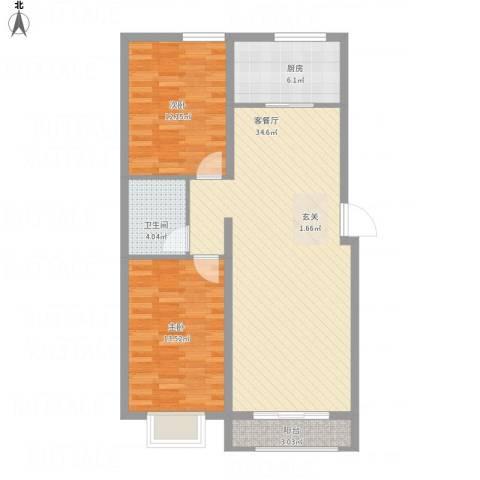 天地名都2室1厅1卫1厨103.00㎡户型图