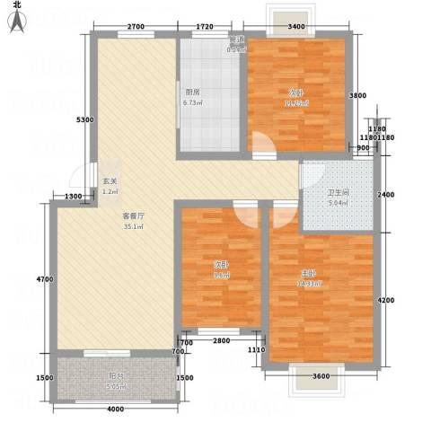 紫金名苑3室1厅1卫1厨87.14㎡户型图