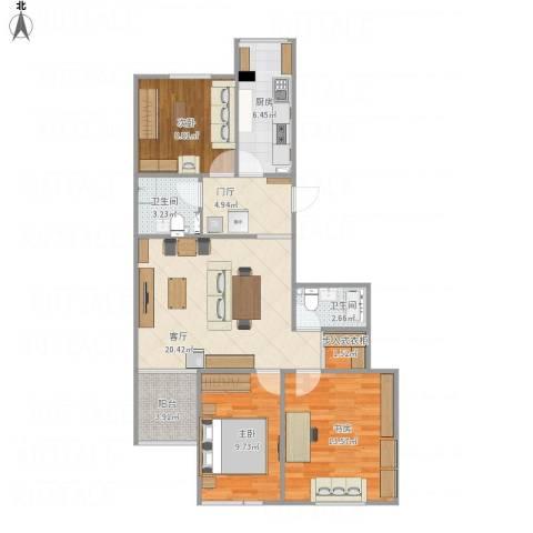 幸福二村3室1厅2卫1厨103.00㎡户型图