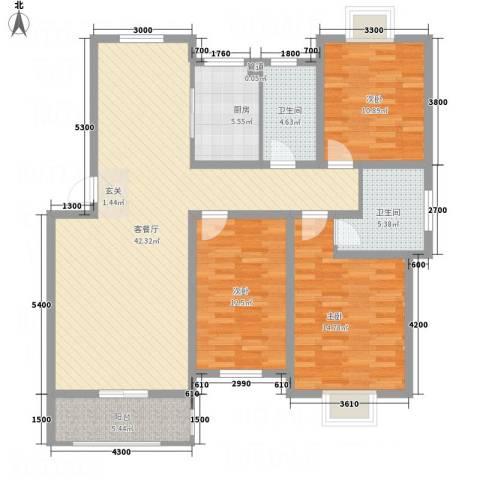 紫金名苑3室1厅2卫1厨127.00㎡户型图