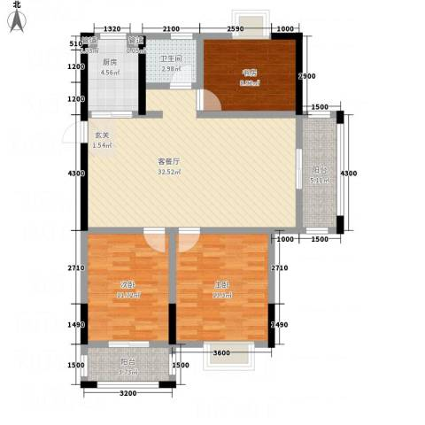 紫金名苑3室1厅1卫1厨112.00㎡户型图
