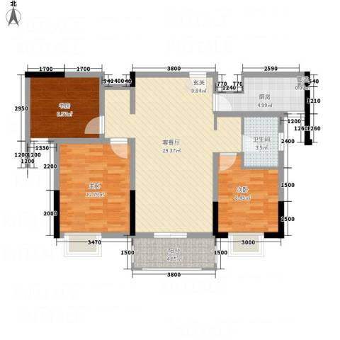 紫金名苑3室1厅1卫1厨72.60㎡户型图