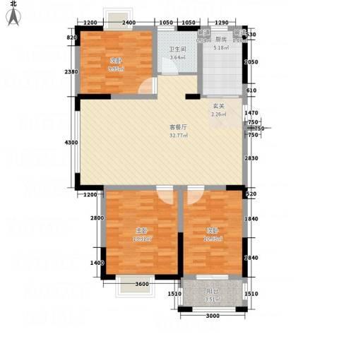 紫金名苑3室1厅1卫1厨111.00㎡户型图