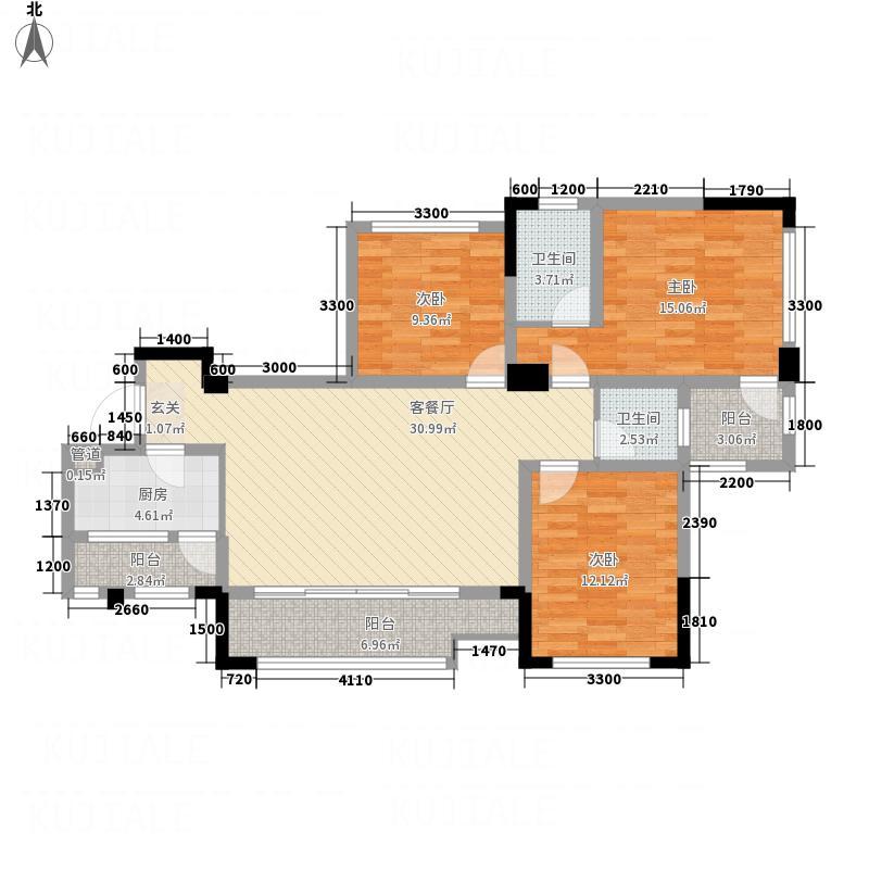 三江国际丽城C区澜岸117.50㎡C去澜岸H户型3室2厅2卫1厨