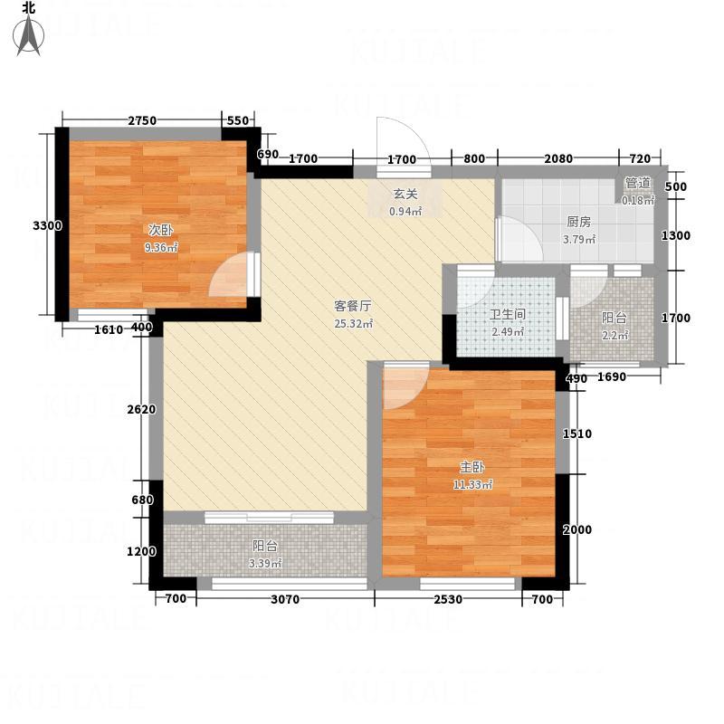 三江国际丽城C区澜岸74.31㎡C区澜岸A户型2室2厅1卫1厨