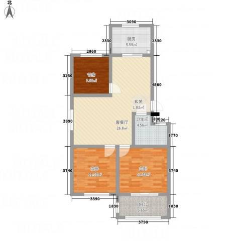一品名郡3室1厅1卫1厨73.93㎡户型图