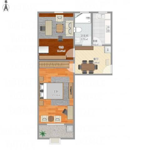洛川东路400弄2室1厅1卫1厨61.00㎡户型图