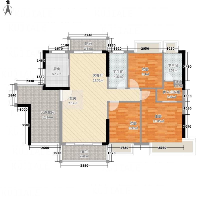 广博峰景137.00㎡B户型3室2厅2卫1厨