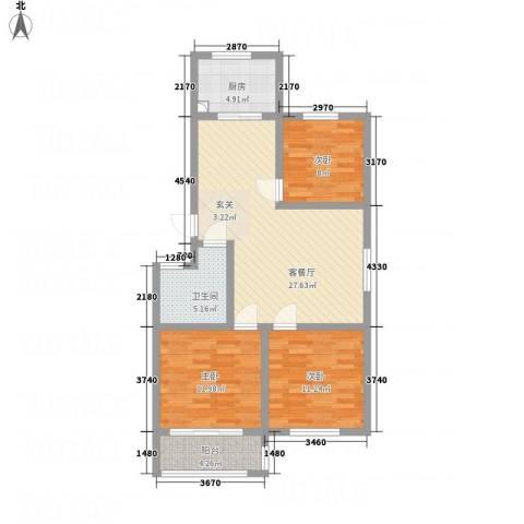 一品名郡3室1厅1卫1厨73.19㎡户型图