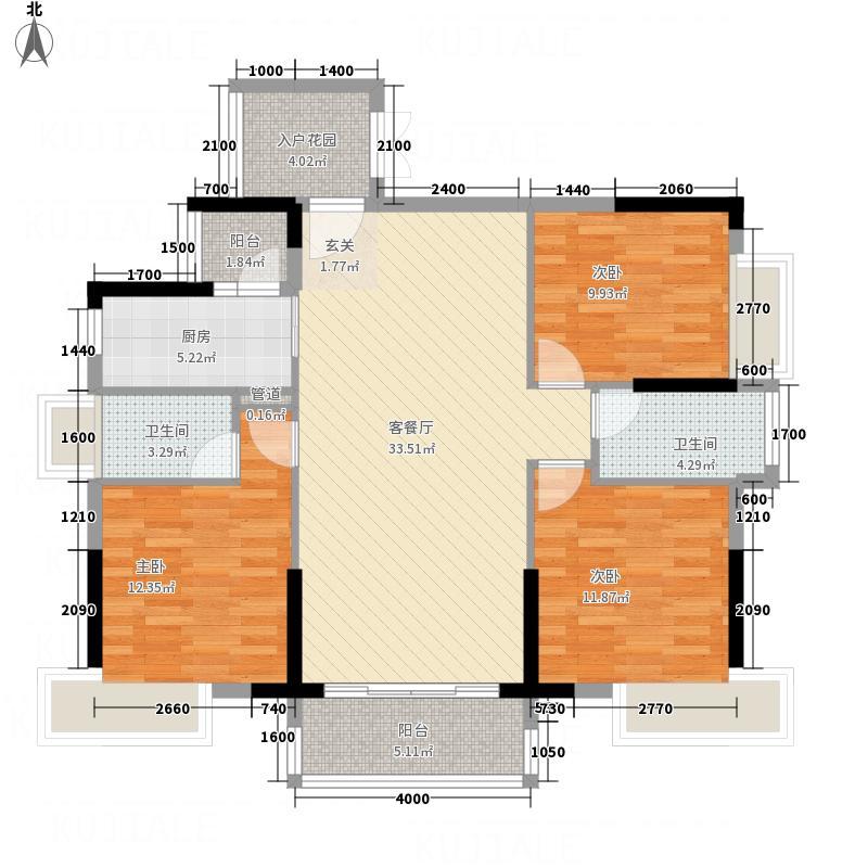 广博峰景11.00㎡C户型3室2厅2卫1厨