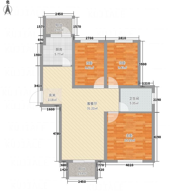 御湖・金茂府116.40㎡户型3室2厅1卫1厨
