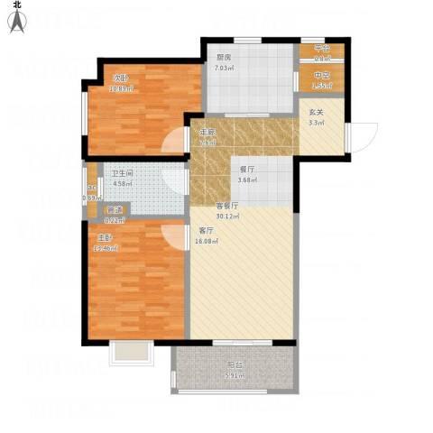 万科中环国际城海上传奇2室1厅3卫3厨106.00㎡户型图