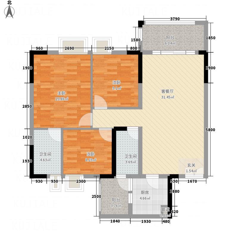 东方豪庭33117.36㎡D3雅阁户型3室2厅2卫1厨