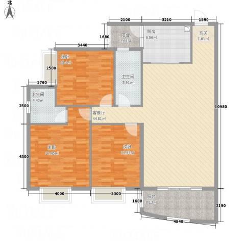 蟠龙山水豪庭3室1厅2卫1厨162.00㎡户型图