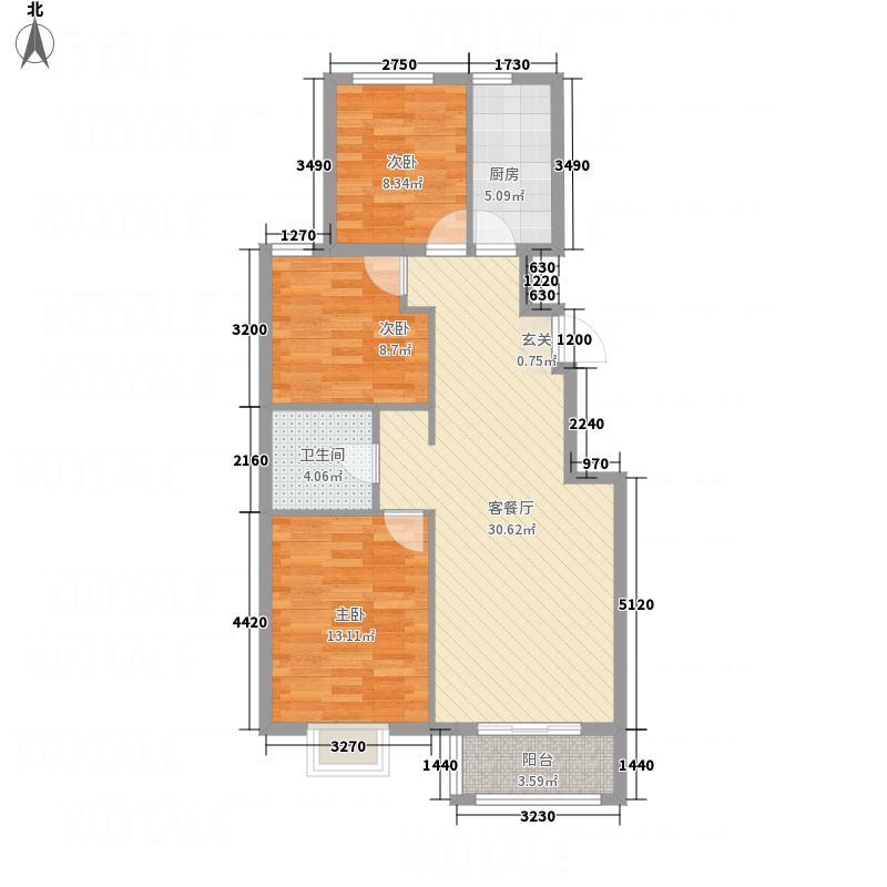 北馨理想城13.55㎡4#楼户型3室2厅1卫1厨