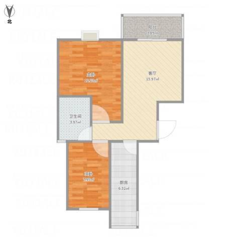 高行绿洲2室1厅1卫1厨69.00㎡户型图