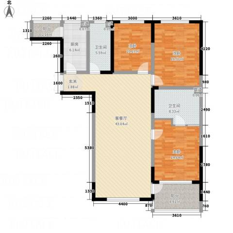 辉煌国际・海港城C区3室1厅2卫1厨155.00㎡户型图