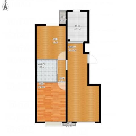 首地·浣溪谷2室1厅1卫1厨85.00㎡户型图