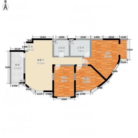 辉煌国际・海港城C区3室1厅2卫1厨165.00㎡户型图