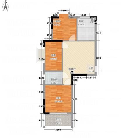 金房玲珑湾3室1厅1卫1厨91.00㎡户型图