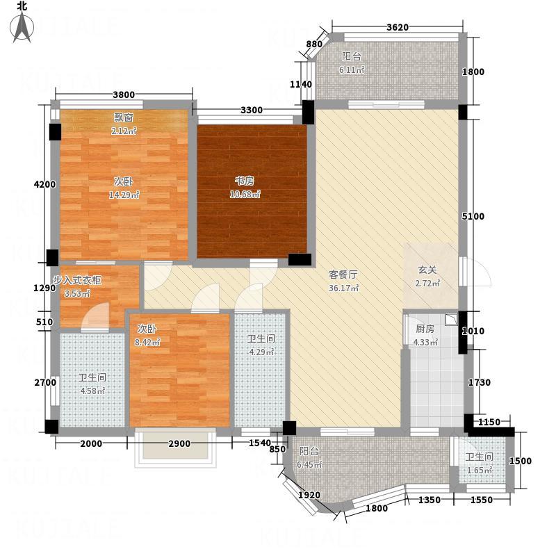 雍翠峰3室1厅3卫1厨100.68㎡户型图