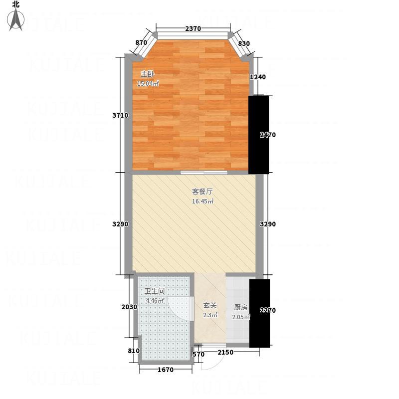 皇爵国际公馆5.28㎡A户型1室1厅1卫1厨